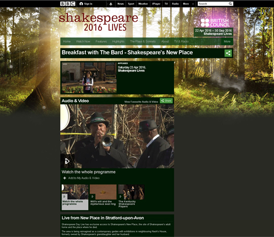 Featured image of article: Shakespeare's New Place on the BBC